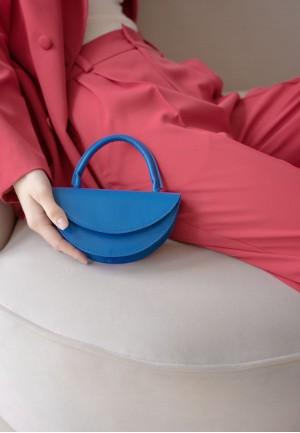 Жіноча шкіряна міні-сумка Сhris micro яскраво-синя
