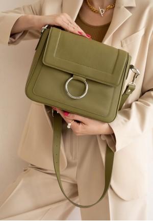 Жіноча шкіряна сумка Jessie оливкова