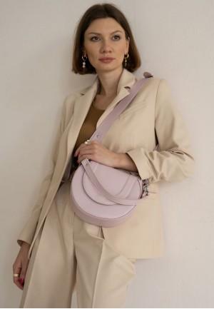 Жіноча шкіряна сумка Mandy пудрова
