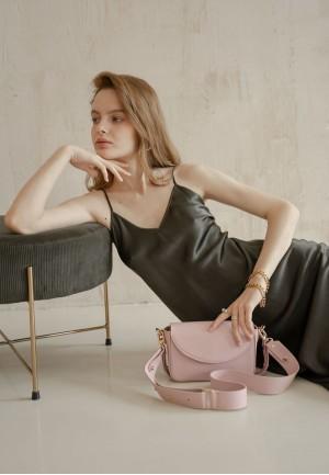 Жіноча шкіряна сумка Molly пудрова