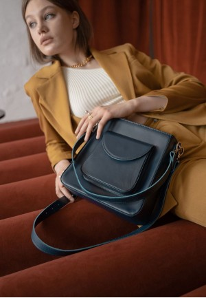 Жіноча шкіряна сумка Stella синя